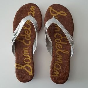 Sam Edelman Tanya Silver Cork Wedge Sandals